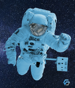 Image that depicts an astronaut, a metaphorical image, which for us represents reaching the goal of a mission