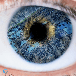 Image that represents the iris of a beautiful celestial eye, filled with a printed circuit of the same color that creates an explosive and creative effect. It is a metaphor for our ambition to look at innovation with our semi-finished products.