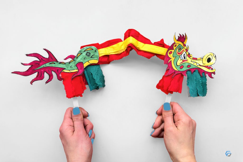 Handcraft dragon of paper
