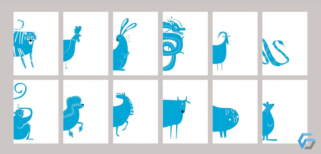 Icone degli animali dello zodiaco cinese